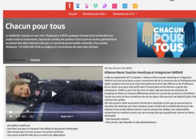 Donation de matériel avec CHACUN POUR TOUS – Emission radio de Jean Marc Richard  – RTS suisse