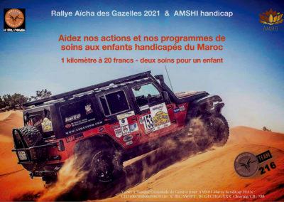 Levée de Fonds AMSHI et TEAM 216 – Rallye Aïcha des Gazelles 2021… C'est parti !